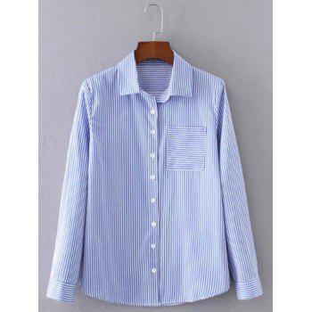 Pocket Design Striped Formal Shirt