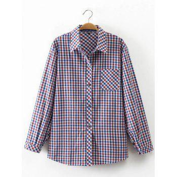 Plaid Print Pocket Design Shirt