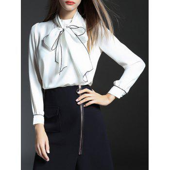 Hollow Out Bowknot Chiffon Blouse