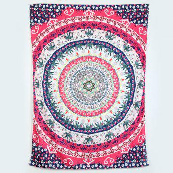Rectangle Elephant Floral Print Beach Throw