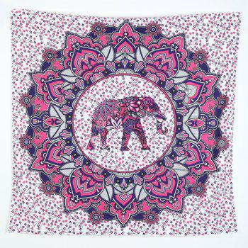 Elephant Print Flower Pattern Square Beach Throw