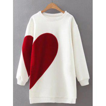 Heart Pattern Color Block Soft Long Sweatshirt
