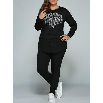 Letter Print Slit T-Shirt and Pants Plus Size Set