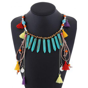 Resin Faux Turquoise Layered Fringe Necklace