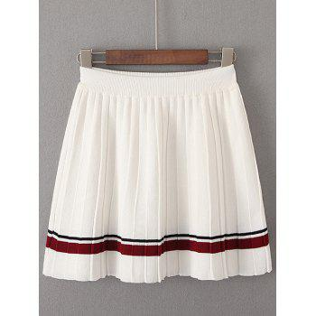 Preppy Style Ribbed Stripe Knitted Skirt