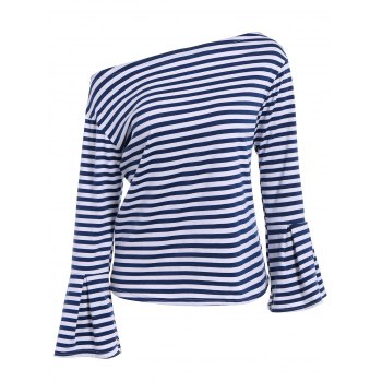 Autumn Flare Sleeve Navy Stripe T-Shirt