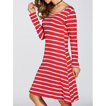 Scoop Neck Striped Stretchy Dress