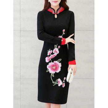 Long Sleeves Embroidered Chinese Dress