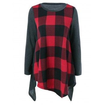 Plaid Asymmetrical Blouse