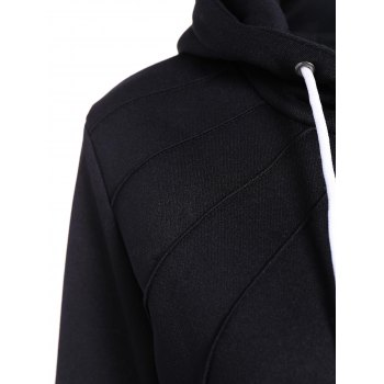 Pleated Pullover Long Hoodie - BLACK 2XL