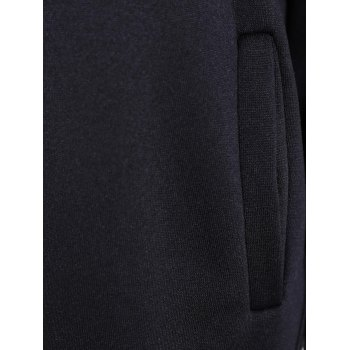 Pleated Pullover Long Hoodie - BLACK L