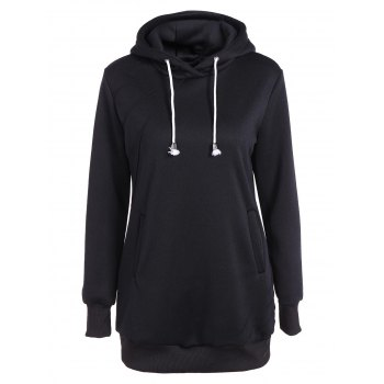 Pleated Pullover Long Hoodie - BLACK BLACK