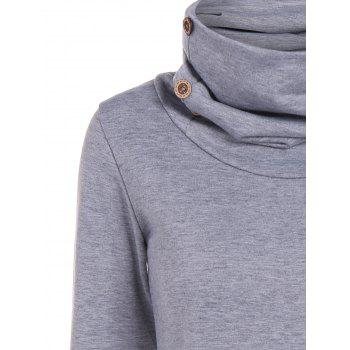 Button and Pocket Design Heap Collar Sweatshirt - GRAY L