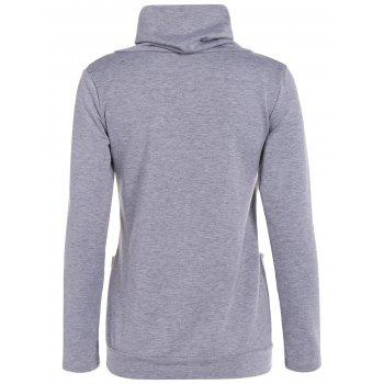 Button and Pocket Design Heap Collar Sweatshirt - GRAY S