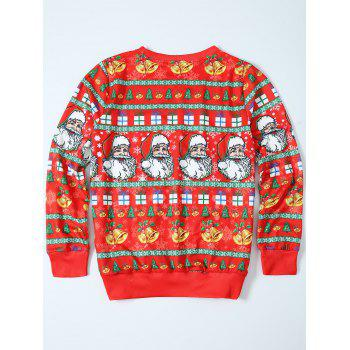 Father Christmas Print Loose Fit Sweatshirt - RED RED