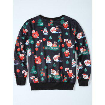 Father Christmas Print Sweatshirt - BLACK BLACK