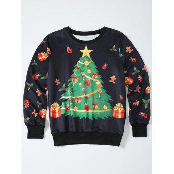 Christmas Tree Print Pullover Sweatshirt - BLACK BLACK