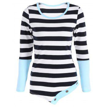 Asymmetric Hem Button Embellished Striped T-Shirt