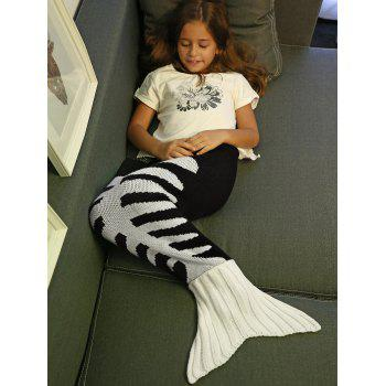 ComfortableFishbone kintted Mermaid Tail Blanket For Kids - Blanc et Noir S