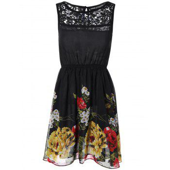 Buy Lace Splicing Floral Print Chiffon Dress BLACK
