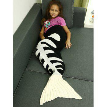 ComfortableFishbone kintted Mermaid Tail Blanket For Kids - Blanc et Noir M