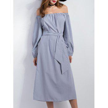 Off Shoulder Midi Stripe Casual Slit Dress
