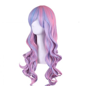 Long Side Bang Wavy Colored Cosplay Synthetic Wig - COLORMIX