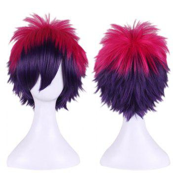 Short Anti Alice Hair Side Bang Rose Red Gradient Purple Cosplay Synthetic Wig
