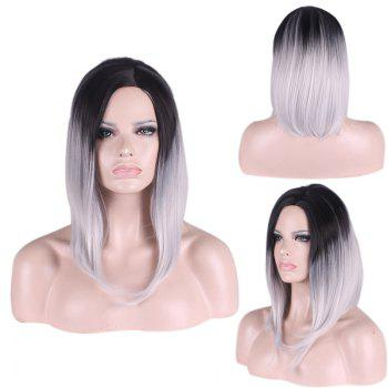 Medium Straight Side Parting Gradient Color Cosplay Synthetic Wig