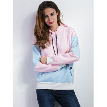 Color Spliced Pullover Hoodie - BLUE/PINK M