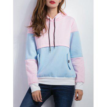 Color Spliced Pullover Hoodie - BLUE AND PINK BLUE/PINK