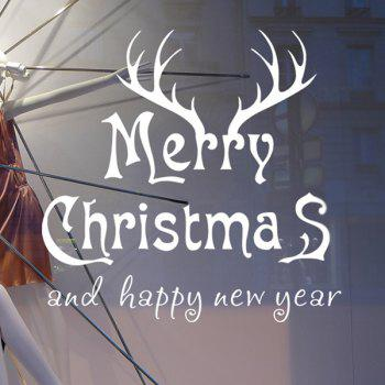 Deer Head Merry Christmas Removeable Wall Sticker