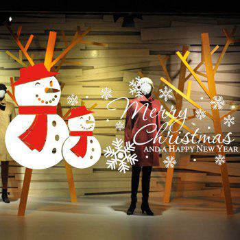 Removeable Merry Christmas Snow Man Wall Sticker