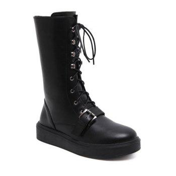 Platform Lace-Up Buckle Mid-Calf Boots
