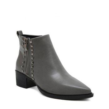 Zipper Pointed Toe Metal Rivets Ankle Boots
