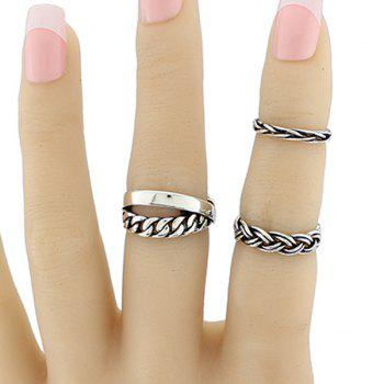 Alloy Circle Braid Jewelry Ring Set