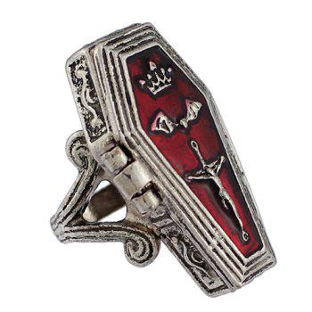 Crown Crucifix Coffin Bat Halloween Ring - SILVER ONE-SIZE