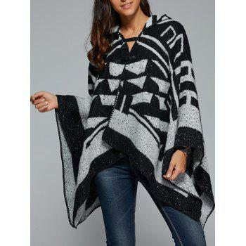 Geometrical Hooded Asymmetrical Cape