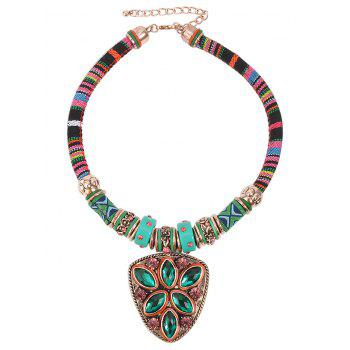 Faux Turquoise Triangle Pendant Necklace