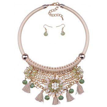 Statement Floral Tassel Weaving Faux Crystal Jewelry Set