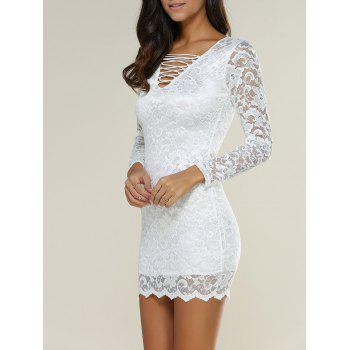 Criss Cross Hollow Out Lace Bodycon Mini Dress with Sleeves