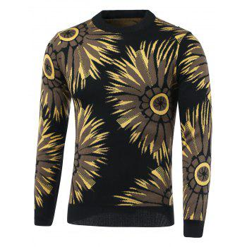Flowers Print Round Neck Long Sleeve Sweater