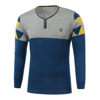 Color Block Spliced Badge Embellished V-Neck Long Sleeve Sweater