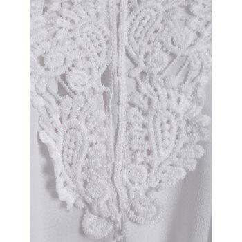 Crochet Lace Insert Short Sleeveless Ruched Dress - WHITE XL