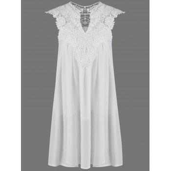 Crochet Lace Insert Ruched Dress