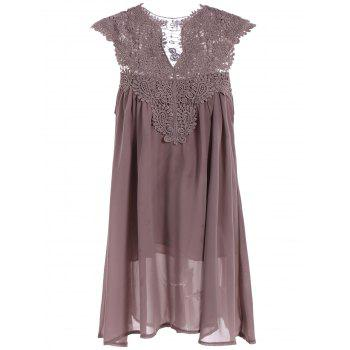 Crochet Lace Insert Short Sleeveless Ruched Dress