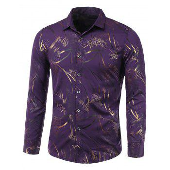 Turn-Down Collar Golden Floral Print Long Sleeve Shirt