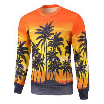 Coconut Tree Painting Print Round Neck Long Sleeve Sweatshirt