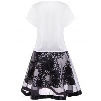 Sequins Embellished Deer Pattern Blouse and Plant Print Mesh Skirt - WHITE WHITE