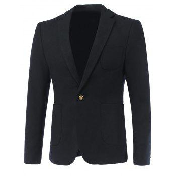 Woolen Pocket One-Button Lapel Long Sleeve Blazer